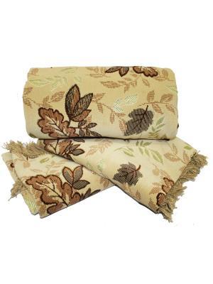 Комплект на мягкую мебель: покрывало 160Х210, накидка кресло 160Х90 - 2шт Dorothy's Home. Цвет: коричневый, светло-коричневый