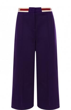 Укороченные брюки со стрелками и эластичным поясом Gucci. Цвет: фиолетовый