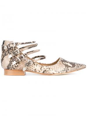 Туфли-лодочки с эффектом змеиной кожи Toga Pulla. Цвет: коричневый