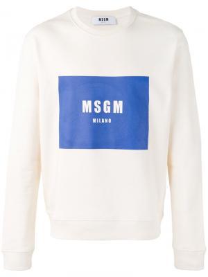 Толстовка с принтом логотипа MSGM. Цвет: белый