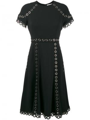Платье с короткими рукавами люверсами Jonathan Simkhai. Цвет: чёрный