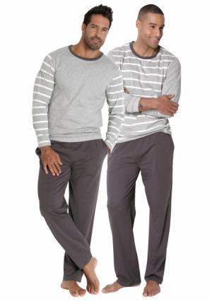 Пижама, 2 штуки LE JOGGER. Цвет: 2х серый меланжевый/темно-серый