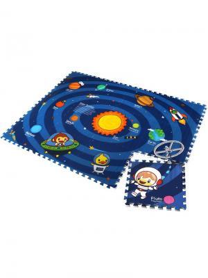 Детский коврик-пазл  Солнечная система 180х135х2 Mambobaby. Цвет: голубой