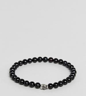 Simon Carter Черный браслет из бусин с серебряной подвеской. Цвет: черный