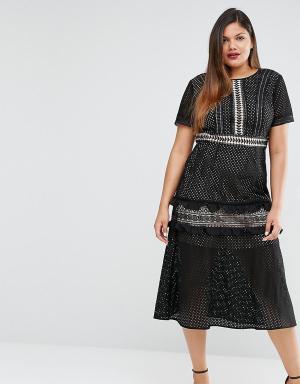 Truly You Кружевное платье миди. Цвет: черный