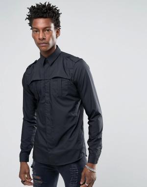Rogues of London Рубашка скинни. Цвет: черный