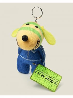 Брелок Собака гопник Новогоднее настроение Бюро находок. Цвет: синий, светло-желтый