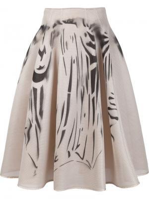 Широкая сетчатая юбка с принтом Dominic Louis. Цвет: телесный