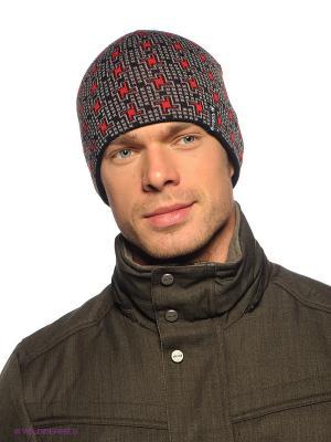 Шапка Viking caps&gloves. Цвет: светло-серый, красный, черный