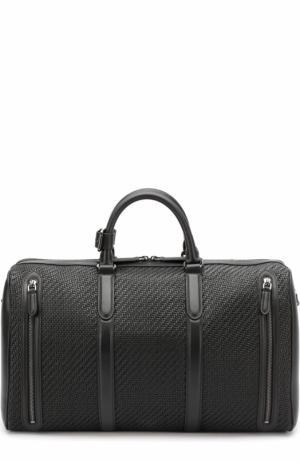 Кожаная дорожная сумка с плечевым ремнем Ermenegildo Zegna. Цвет: черный
