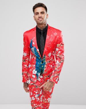 ASOS Облегающий пиджак с принтом. Цвет: красный
