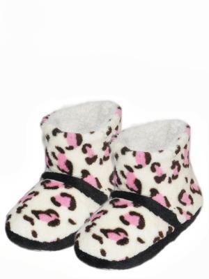 Носки-тапочки HOBBY LINE. Цвет: розовый, белый