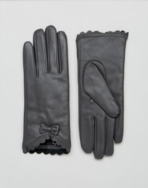 Barney's Originals Перчатки из натуральной кожи с фактурной отделкой и бантом Barneys Or. Цвет: серый