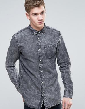 Jack & Jones Узкая джинсовая рубашка с эффектом кислотной стирки Origi. Цвет: серый