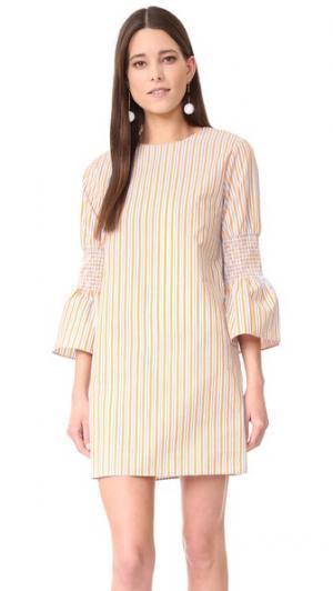 Платье в полоску ENGLISH FACTORY. Цвет: восход мульти