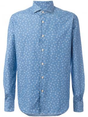 Рубашка с цветочным рисунком Xacus. Цвет: синий