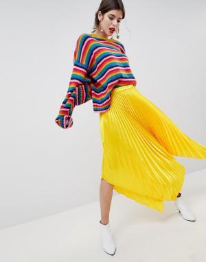 ASOS Атласная плиссированная юбка миди с асимметричным краем DESIGN. Цвет: желтый