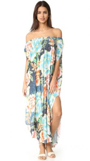 Пляжное платье с открытым плечами Mara Hoffman. Цвет: аркадия индиго