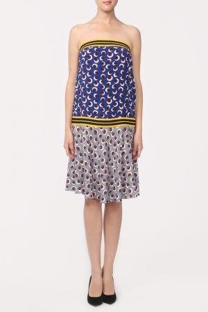 Платье Stella McCartney. Цвет: синий, серый, принт лепестки