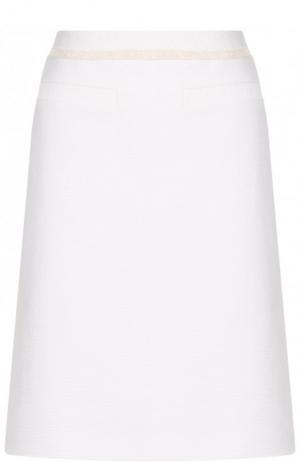 Хлопковая мини-юбка с бахромой BOSS. Цвет: белый