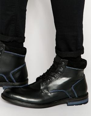 Dune Черные кожаные ботинки на шнуровке. Цвет: черный