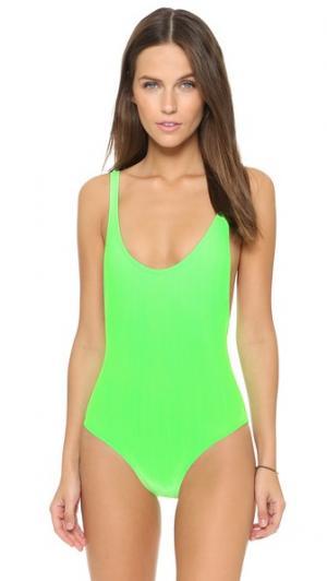 Сплошной купальник Elle Karla Colletto. Цвет: неоновый зеленый