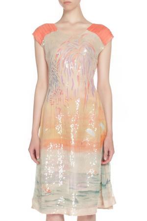 Полуприлегающее платье украшенное пайетками Tsumori Chisato. Цвет: цветной