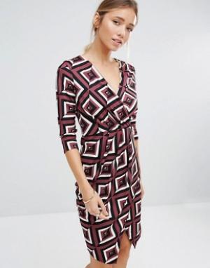 Closet London Драпированное платье с V-образным вырезом. Цвет: фиолетовый