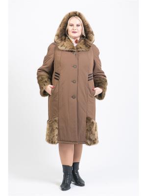 Пальто 53614 Trevery. Цвет: коричневый
