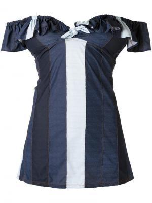 Платье с открытыми плечами и панельным дизайном Amir Slama. Цвет: синий