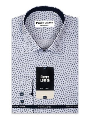 Рубашка Pierre Lauren. Цвет: белый, синий