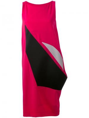 Платье с асимметричной вставкой Issey Miyake. Цвет: розовый и фиолетовый