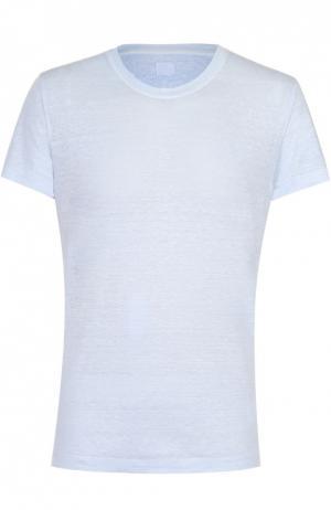 Льняная футболка с круглым вырезом 120% Lino. Цвет: голубой