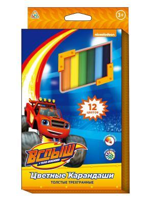 Цветные карандаши Вспыш, толстые, трехгранные, 12 цветов Peppa Pig. Цвет: оранжевый