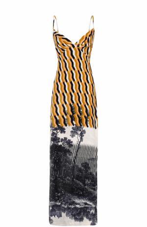 Платье-макси с принтом и V-образным вырезом на спинке Dries Van Noten. Цвет: бежевый