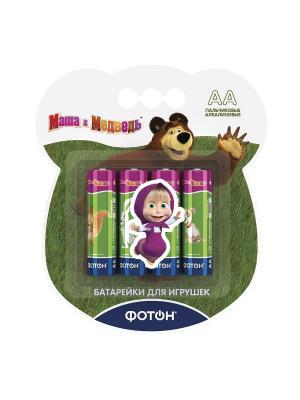 Батарейки AA Маша и медведь + наклейка, цена указана за 1 шт, продаются упаковкой Фотон. Цвет: зеленый
