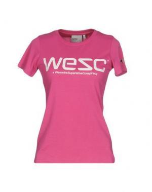 Футболка WESC. Цвет: фуксия