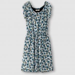 Платье с короткими рукавами MOLLY BRACKEN. Цвет: белый/синий рисунок,темно-синий/оранжевый