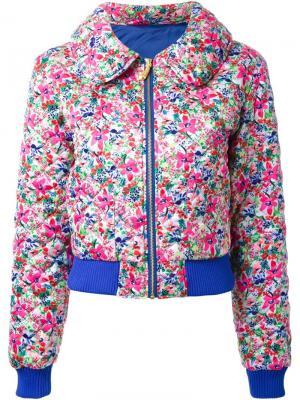 Стеганая куртка с цветочным принтом DressCamp. Цвет: розовый и фиолетовый
