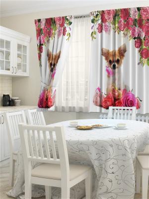 Комплект фотоштор для кухни Розочка ZLATA KORUNKA. Цвет: кремовый