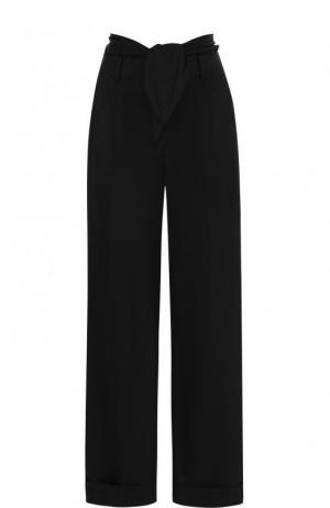 Однотонные хлопковые брюки с завышенной талией Alexander Wang. Цвет: черный