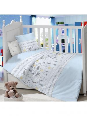 Комплект постельного белья в детскую кроватку из сатина (простыня на резинке) Ивбэби. Цвет: голубой, молочный, светло-серый