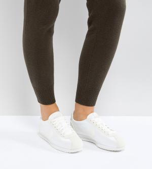 Nike Атласные кроссовки цвета хаки Cortez. Цвет: кремовый
