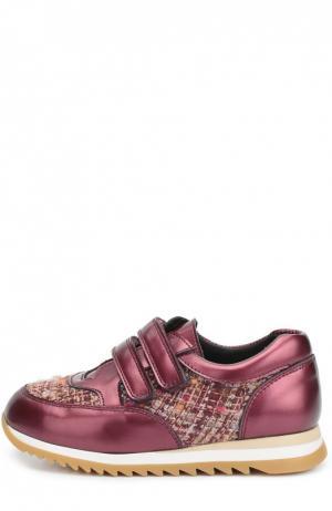 Кожаные кроссовки с текстильной вставкой Clarys. Цвет: бордовый