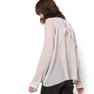 Блузка двухцветная с длинными рукавами AN'GE. Цвет: черный