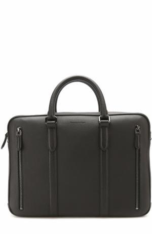 Кожаный портфель для ноутбука с плечевым ремнем Ermenegildo Zegna. Цвет: черный