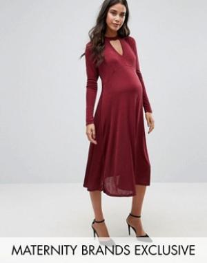 Bluebelle Maternity Платье миди с бантиком для беременных. Цвет: красный
