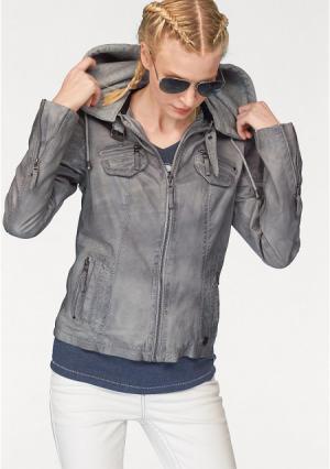 Кожаная куртка Kangaroos. Цвет: светло-серый потертый