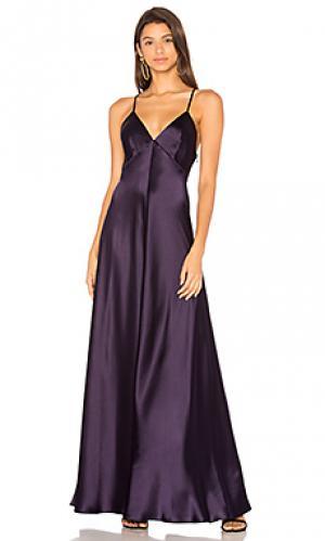 Вечернее платье с v-вырезом без рукавов JILL STUART. Цвет: синий