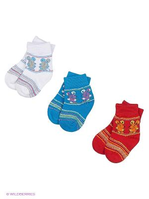 Носки 3 пары Master Socks. Цвет: белый, бирюзовый, красный